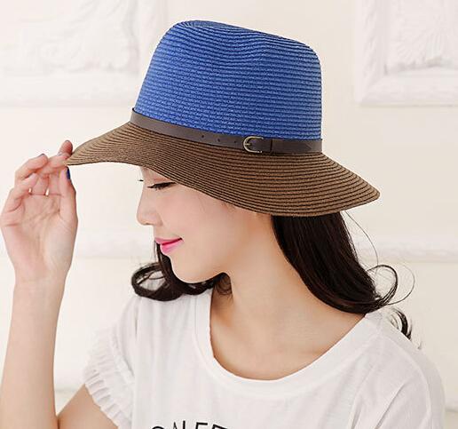 96bfdde08d857 Wholesale Nice Designer Block Color Paper Straw Fedora Hats Women Summer Trilby  Hat Ladies Sun Fedoras Cap Womens Trilbys Caps