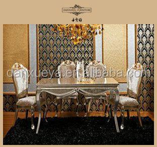 Französisch jahrgang holz esstisch und stühle, Luxus klassischen esszimmer möbel-set-Set des ...