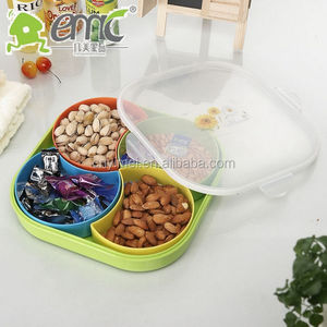 square shape plastic compartment storage box for fruit and nuts