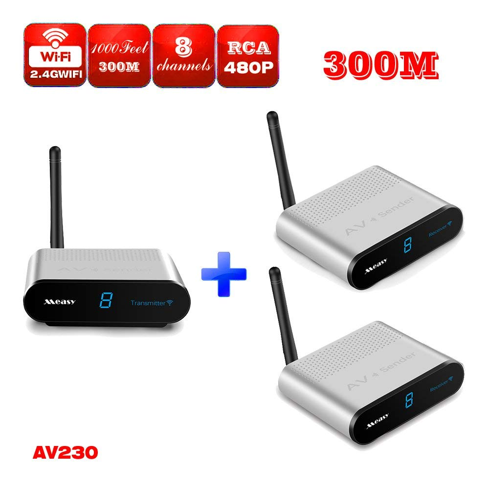 MEASY AV230-2 (1X2)2.4G 8 Channel Wireless Video & Audio Sender Transmitter + 2 Receivers with IR signal back control for Streaming Cable, Satellite, DVD to TV Wirelessly (300M/1000 Feet)