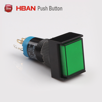 square head 12mm led latching illuminated 220V 230V push button switch