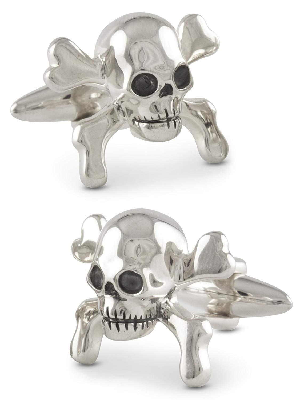 ZAUNICK Skull Crossbones Cufflinks, Sterling Silver