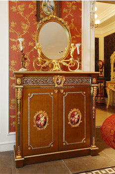 Delightful Luxury French Baroque Style Golden Wood Carved Shoe Cabinet/ Brass Mounted  High Quality Wooden Storage Part 30