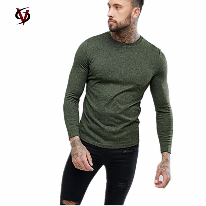Online Shipping Apparel O Neck men T Shirt,Long Sleeves Fit Cotton Clothes Print Men T-Shirt