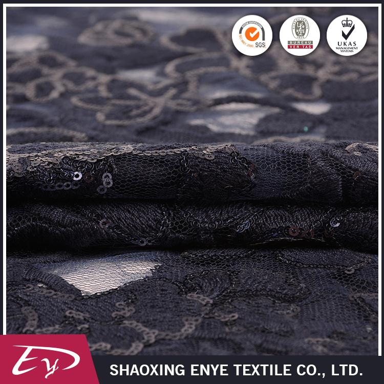 Manufacture oem eco-friendly nylon sequin chemical lace