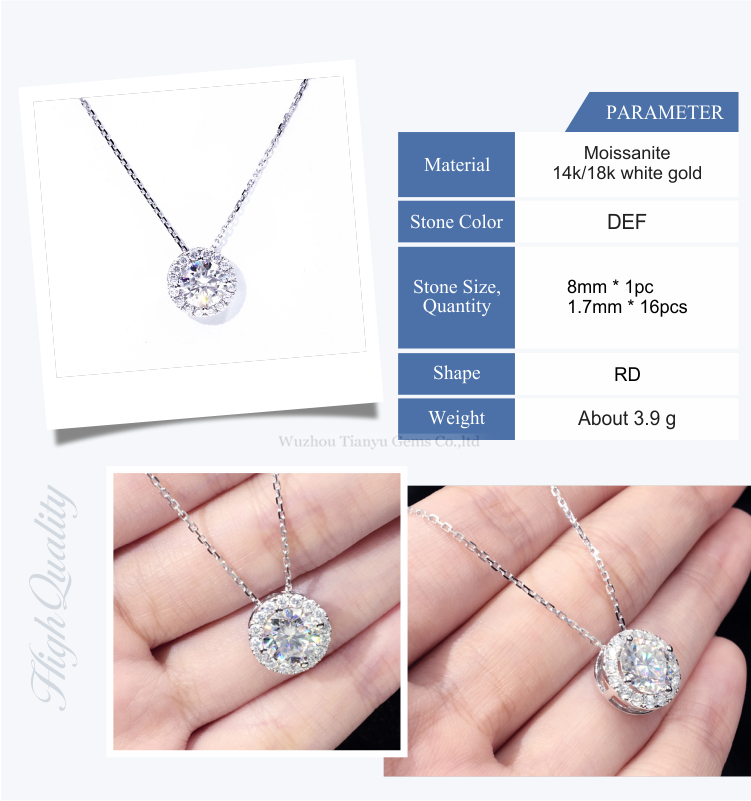 Tianyu 14k/18k white gold pendant 2ct round heart&arrow cut colorless moissanite necklace