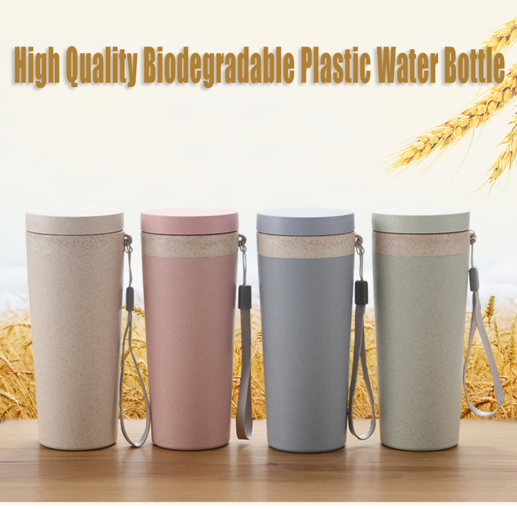 400 ml double-layer color biodegradable water cup for wheat fiber water bottle