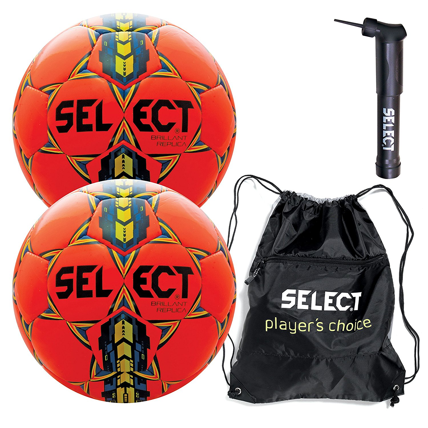 Select Brilliant Super Replica Soccer Ball with Sack Pack & Hand Pump (Pack of 2)