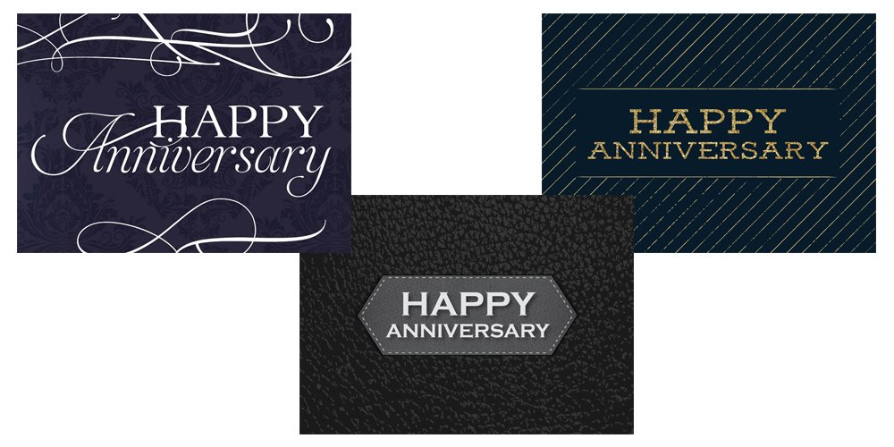 Anniversary Greeting Card Assortment - VP1701. Business Greeting Cards Featuring Three Different Anniversary Greeting Cards. Box Set Has 25 Greeting Cards and 26 Bright White Envelopes.