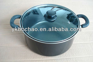 Carbon steel non-stick 5 quart dutch oven pot with glass lid