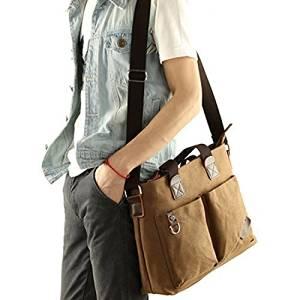 Vintage Canvas Messenger Bag Case Casual Bags Shoulder Laptop Bag School bags Attache case for Men Young People Student - Coffee