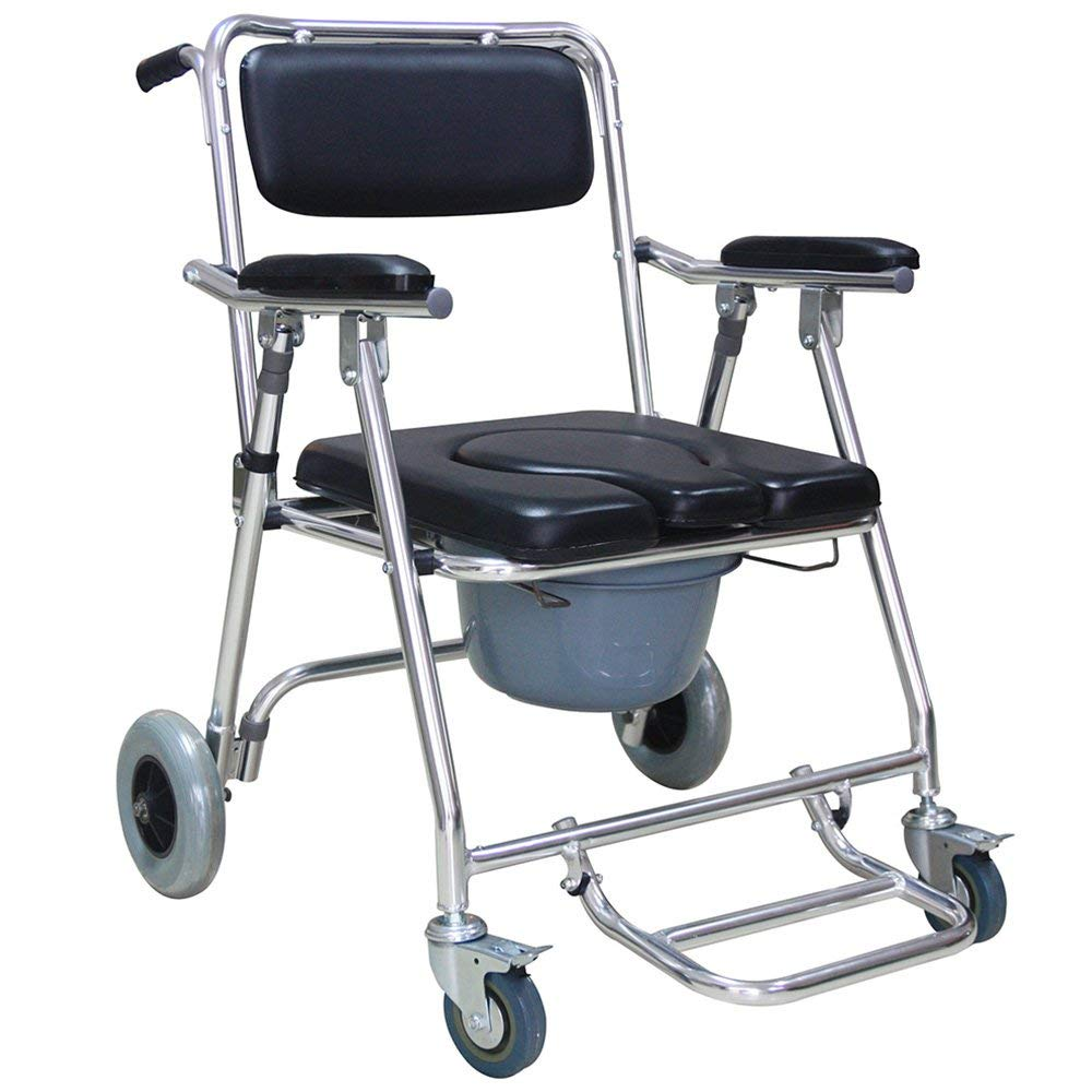 Get Quotations · Carejoy Wheelchair Commode, Mobile Toilet Chair with 2  Brakes Padded Toilet Seat for Patient,