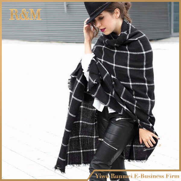 200CM * 95CM New Lady Women Blanket black white Plaid Cozy Checked Tartan Scarf Wraps shawl