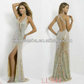 NW-446 Sexy Stones Hot V-neck Evening Dress Prom Gown