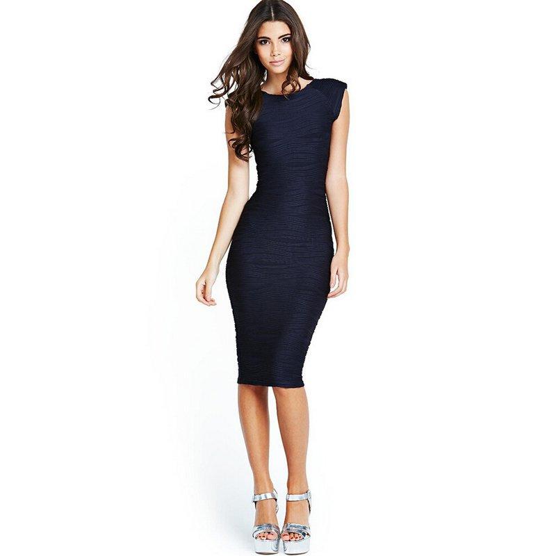 967fe6a8d7a Desigual 2016 Women Elegant Fold Wavy Sexy Bodycon Sundress Blue Office Dress  Summer Tunic Sheath Pencil Evening Party Dresses