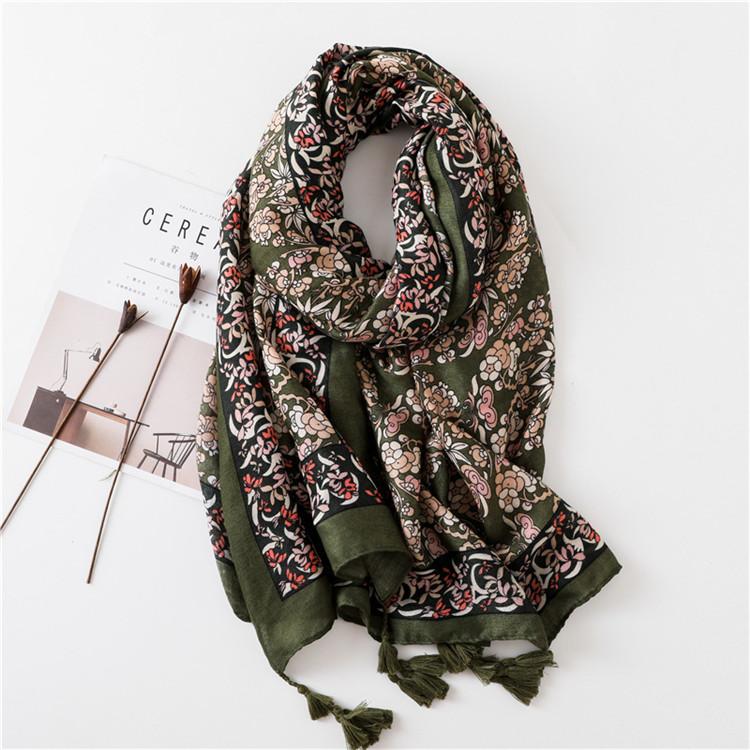 Imported Lightweight Neckwear Blanket Wrap Winter Shawl Ethnic Floral Scarfs