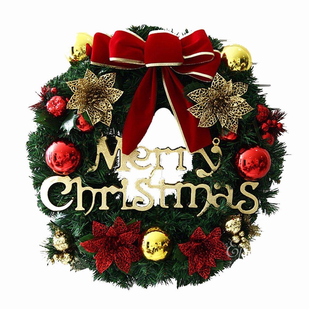 Get Quotations · ShengTu Plastic Leaves Christmas Wreaths Door Decoration  (19.7inch)