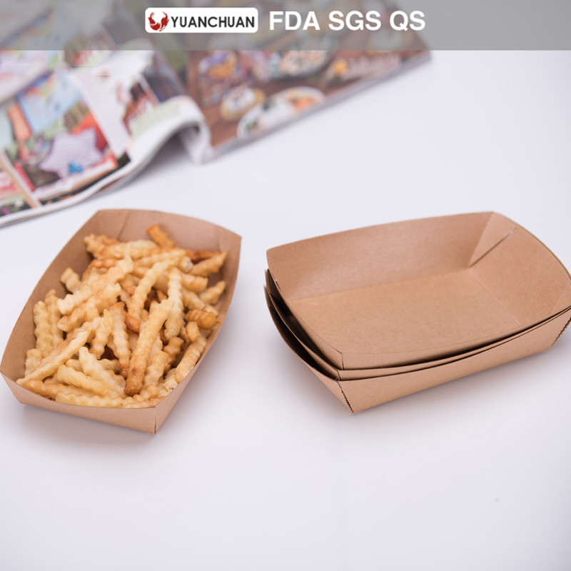 Environmental food paper french fries tray for sale