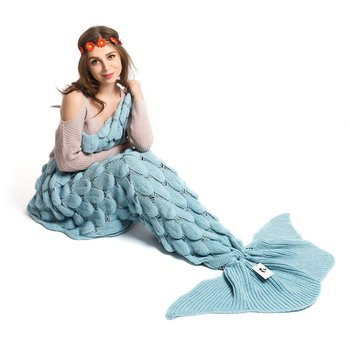 Handmade Knitted Mermaid Tail Blanket Crochet Wrap Mermaid Blanket