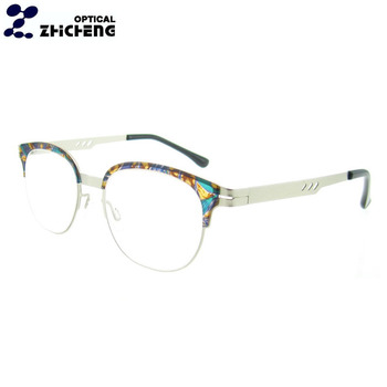 d73ac9e73a8e 2018 wholesale latest fashion Italian metal optical frames half rim round  new style eyeglasses