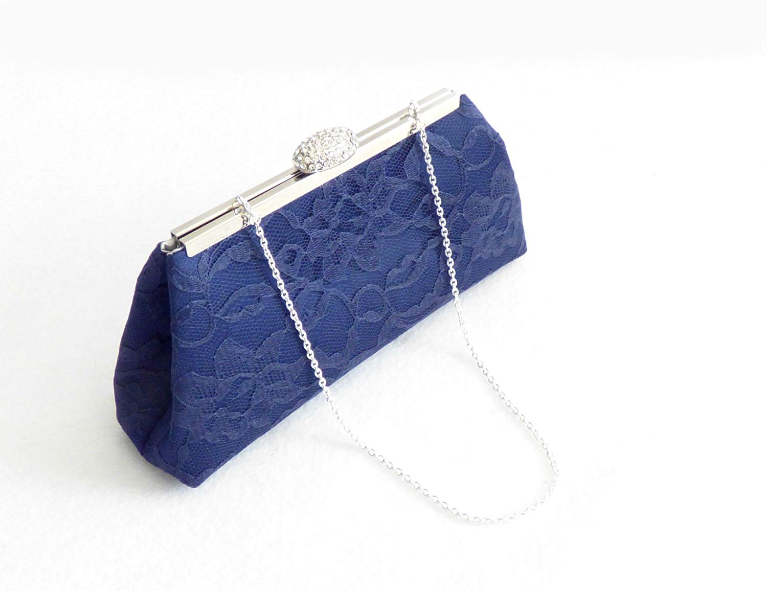Navy Blue and Silver Bridal Clutch, Something Blue, Bridesmaid Gift, Mother of the Bride Clutch, Bridesmaid Clutch