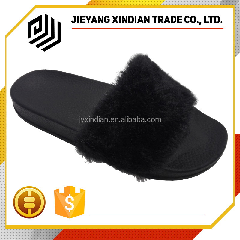 Accept trail order black color soft plush fur slide <strong>slippers</strong>