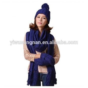 lady winter fashion knitted scarf hat gloves set