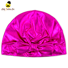 Kids Head wear Soft Solid Hot Pink Patent Leather Bow Tie Newborn Infant Baby Girl Winter Beanie Hat Cap