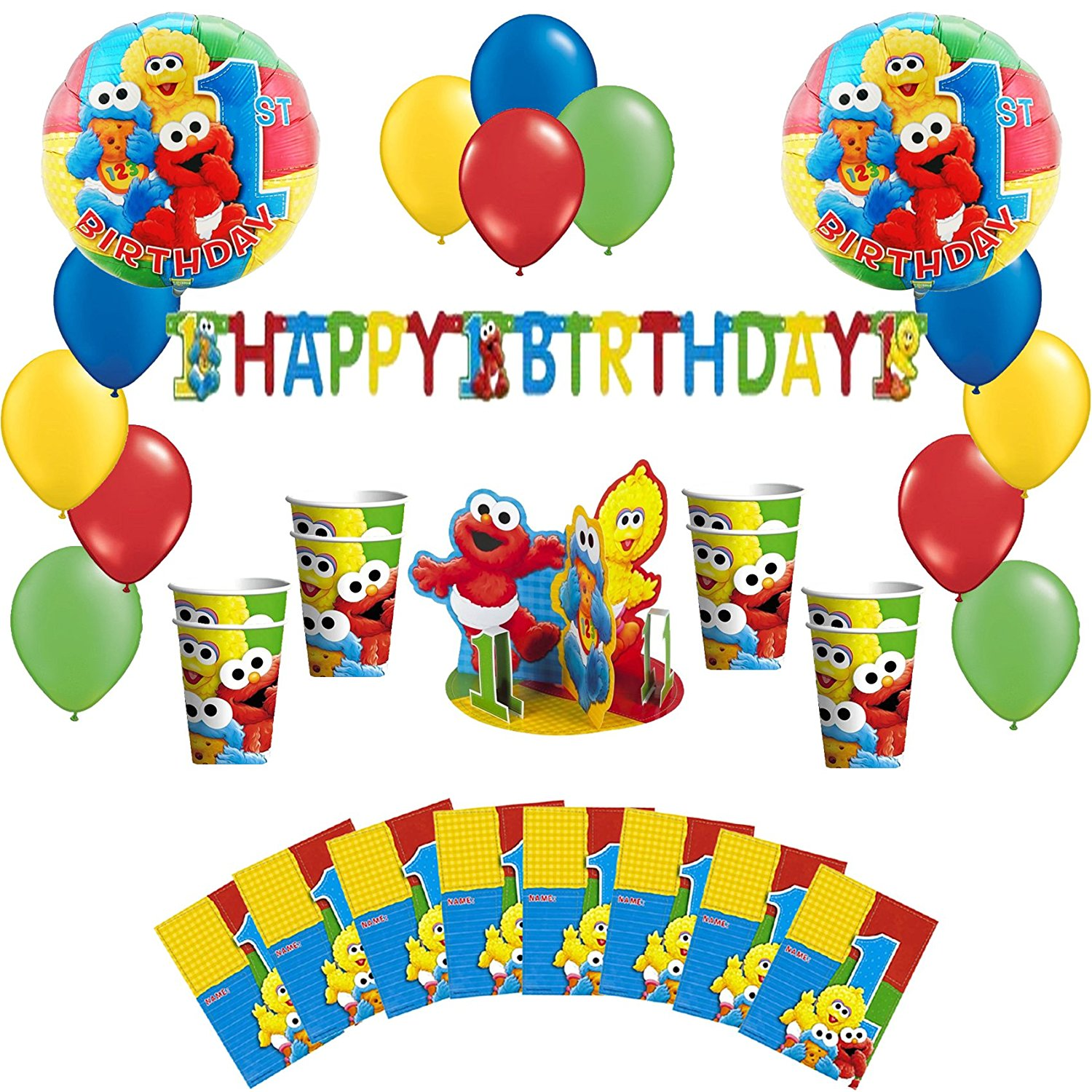 Awesome Buy Sesame Street 1St Birthday Party Pack Including Balloons Interior Design Ideas Tzicisoteloinfo