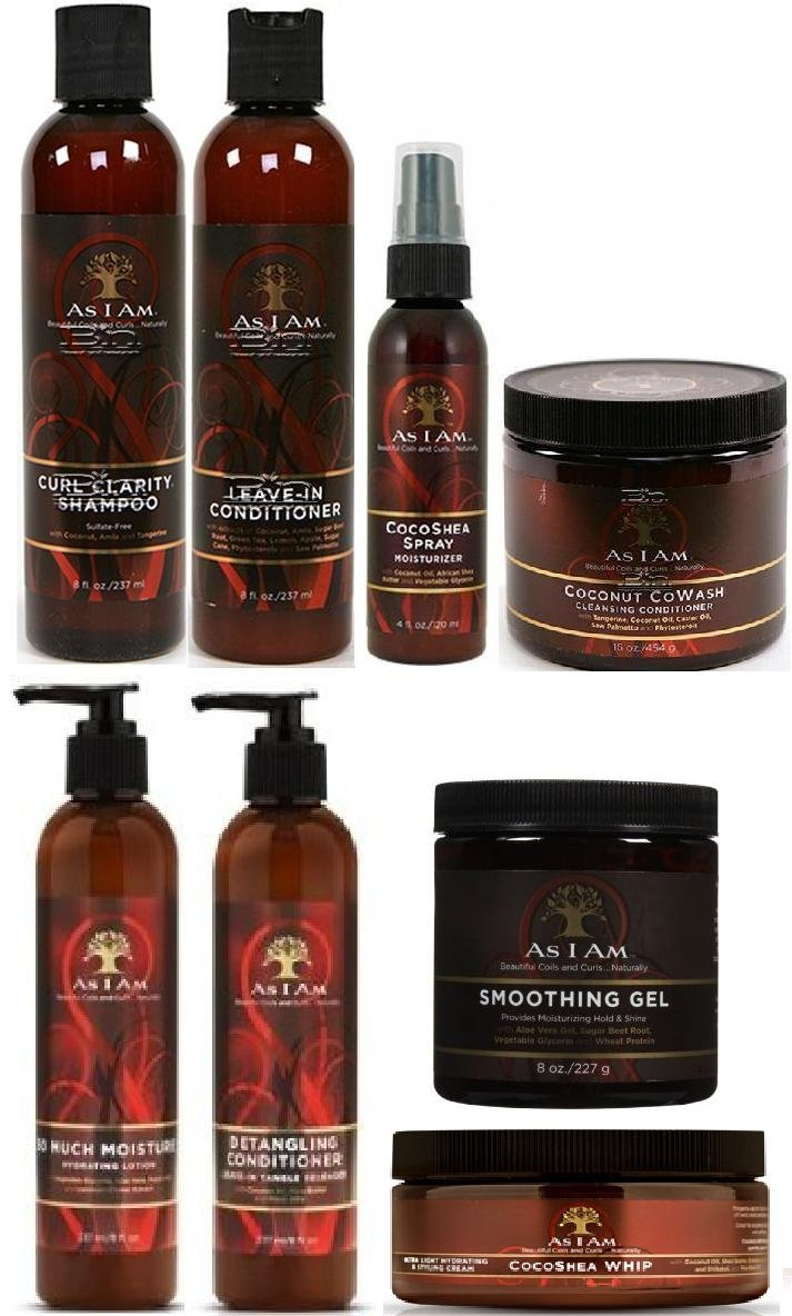 As I Am Naturally 8pcs ULTIMATE JUMBO COMBO (Curl Shampoo, Leave-In Conditioner, So Much Moisture, Cocoshea Whip, Cocoshea Spray, Smoothing Gel, Detangling Conditioner and Cocnut CoWash)