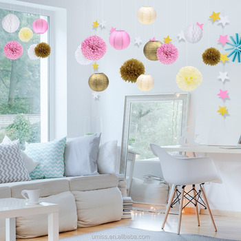 Tissue paper pom poms flowers paper lanterns star garland hanging tissue paper pom poms flowers paper lanterns star garland hanging flower balls gold ivory pink party mightylinksfo