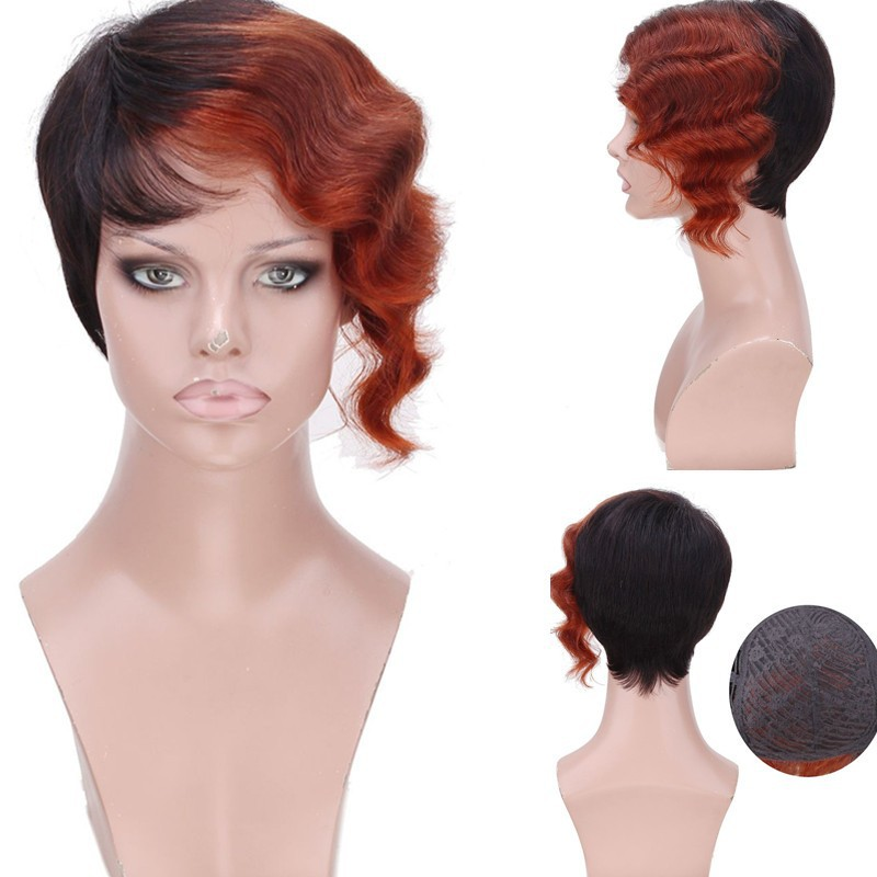 2015 new fashion silk top glueless full lace short curly ombre brazilian virgin human hair wigs