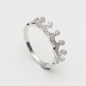 Hot Full Cer Cz Diamond 925 Sterling Silver King Queen Crown Shaped Ring