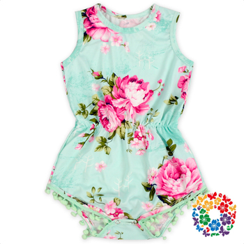 f1736414b Mint Green Floral Baby Pom Pom Romper Girls Summer Sleeveless Rompers With  Metal Snaps On The