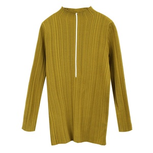 Long Sleeve Women Knitwear And Pullovers Vertical Stripe Yellow Sweater