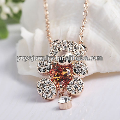 Popular Style Pretty Cute Bear Necklace Pendant 18k Rose Gold Fashion Necklace 2013