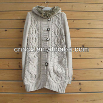 13stc5050 Fur Collar Hooded Cable Knitted Cardigan Pattern Buy