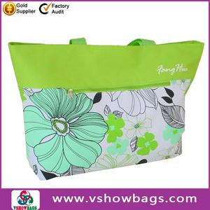 cheap polyester beach mat tote bag with cotton handle
