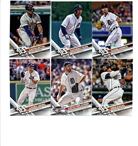2017 Topps Detroit Tigers Complete Master Team Set of 29 Cards (Series 1, 2, Update) with Jordan Zimmermann(#40), Anibal Sanchez(#83), Cameron Maybin(#102), Francisco Rodriguez(#105), JaCoby Jones(#139), Miguel Cabrera(#150), Justin Verlander(#159), Justin Upton(#207), Mike Aviles(#240), Anthony