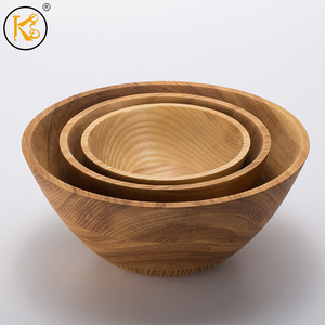 best sell medium round ash wooden food salad bowl