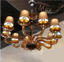 Most popular Fume/smoke glass shade lampluxury philippines chandelier pendant light
