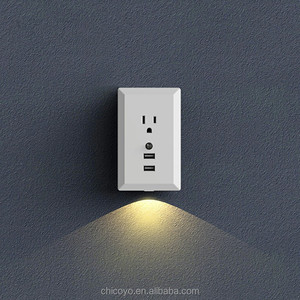 Direct plug Smart Wall Socket Two USB port quick Charger single AC Outlet with light sensor LED night lights