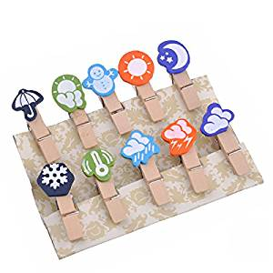 ULTNICE Cute Mini Wooden Clothespins Weather Icon Photo Memo Picture Holder Clip 10 pcs/set