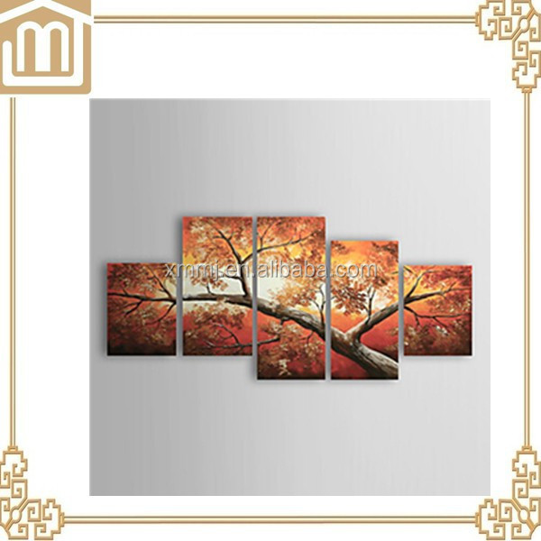 5 pieces group canvas art abstract tree canvas oil painting