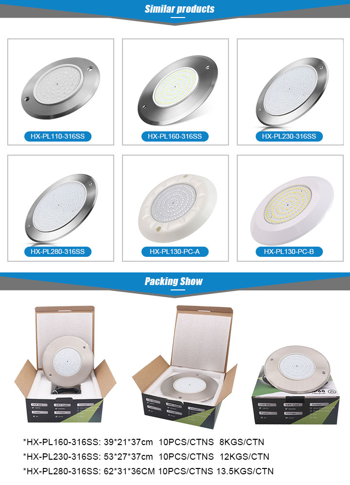 Flat Wall Mounted White RGB IP68 12V Under water Lamp Swimming Pool Lighting Led Pool light with CE ROSH