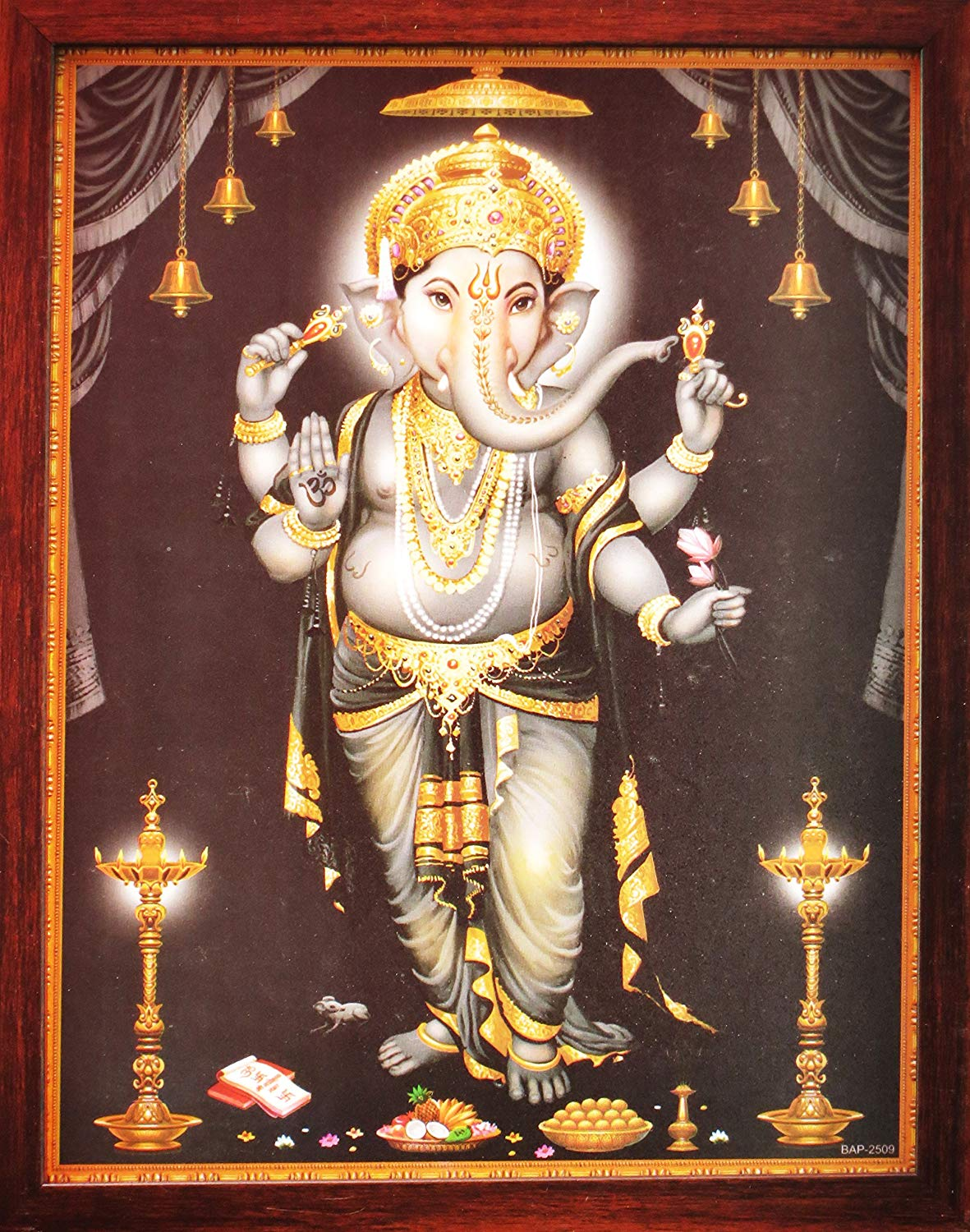 Lord Ganpati Ganesha Poster Painting with Frame, a Auspicious Hindi God Painting for Every Home/Office and Gift Purpose