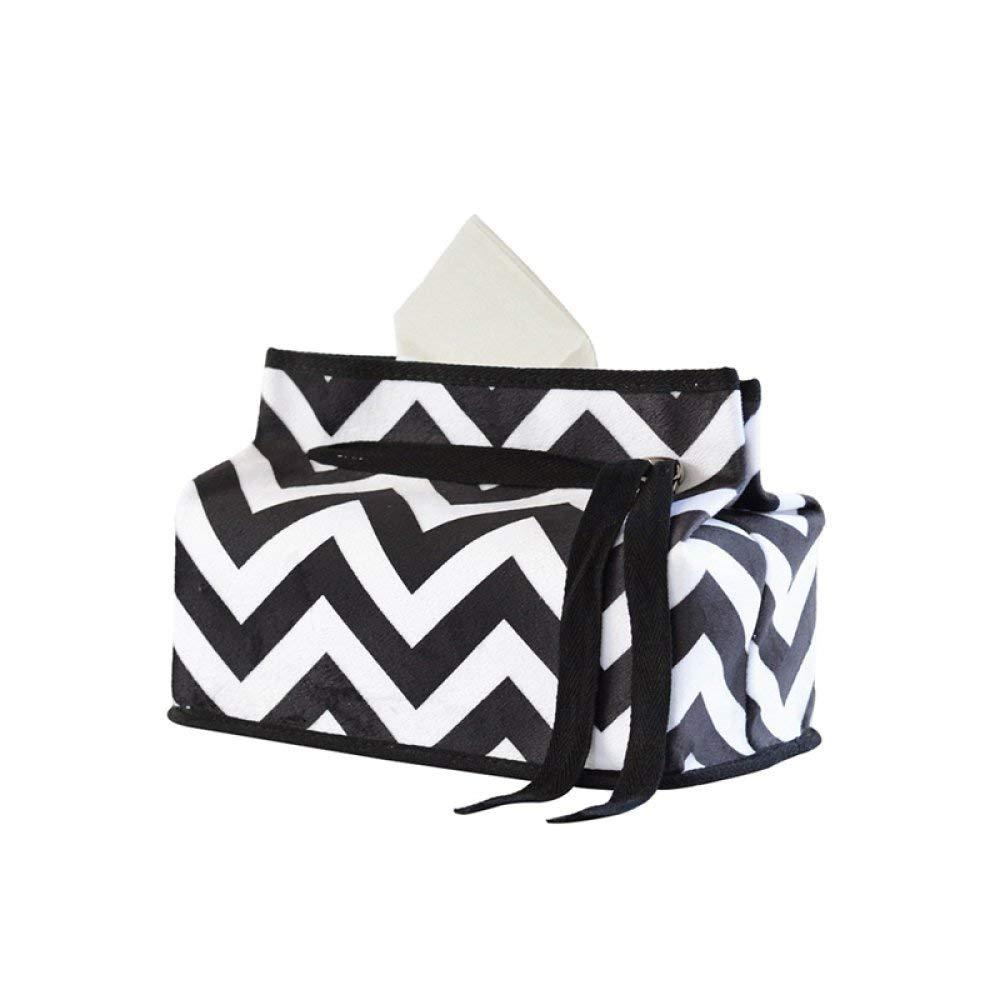 DHG Nordic Black and White Stripes Living Room Fabric Tissue Box Simple Pumping Tissue Box Set Car Tissue Box Creative