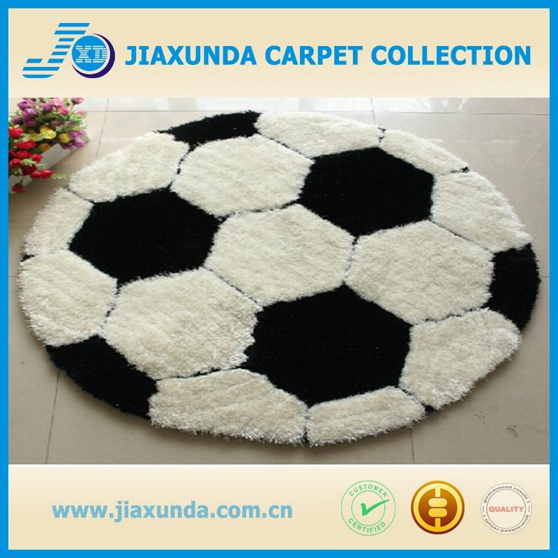 Round Football Mat Polyester Short Pile