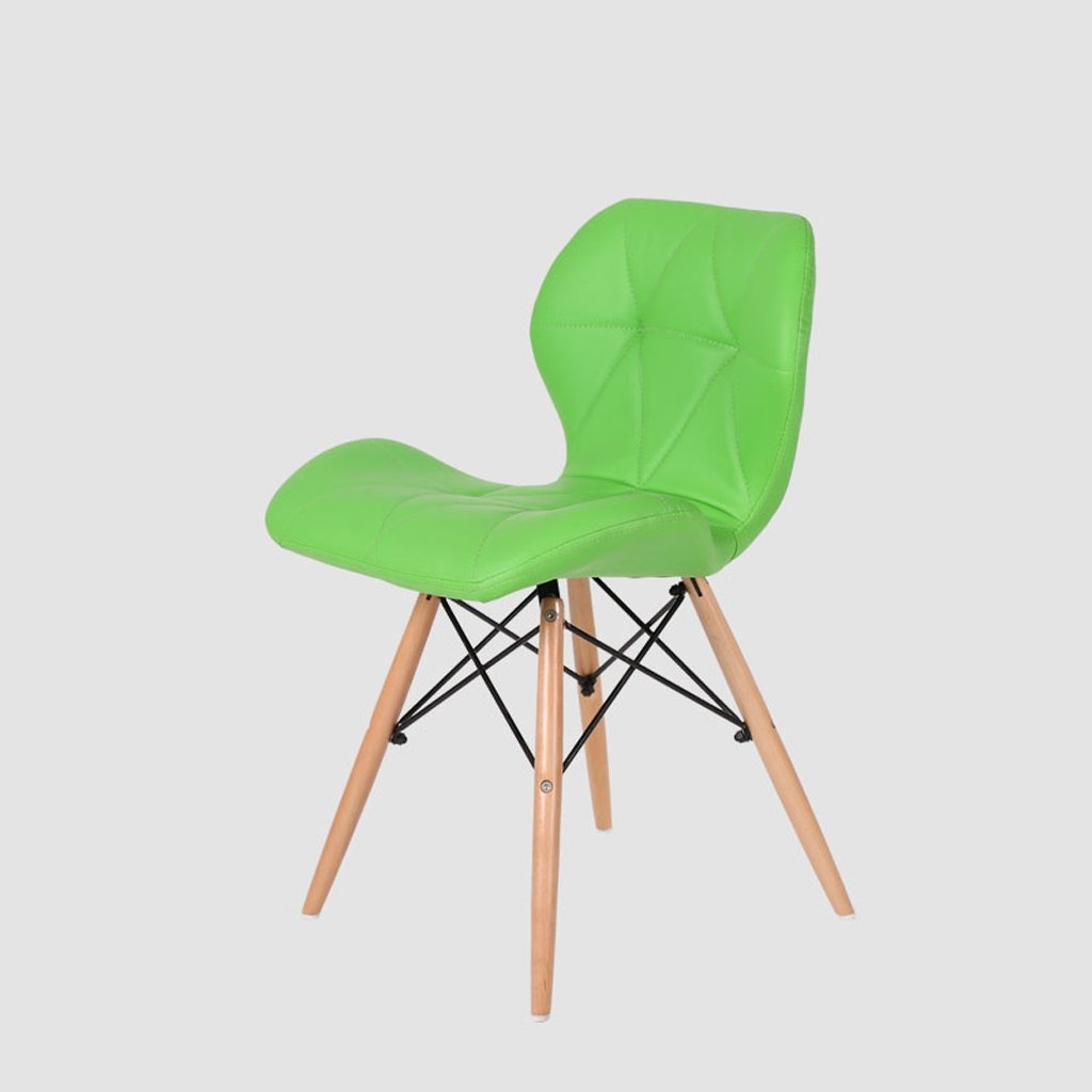 Bar Stool, PU Leather Backrest Office Stool, Kitchen Breakfast Stool, (H45cm W49cm 37cm), Green
