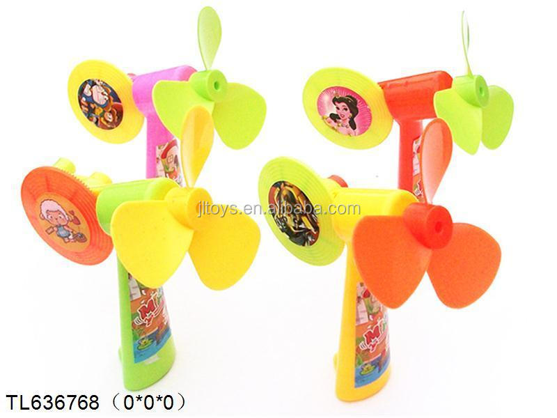 plastic mini fan with EVA fan leaves for kids promotional gift toys